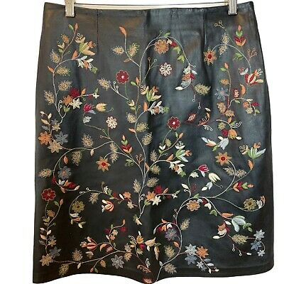 $ CDN99.99 • Buy Danier Women's Floral Embroidered 100% Genuine Leather Skirt Size 10