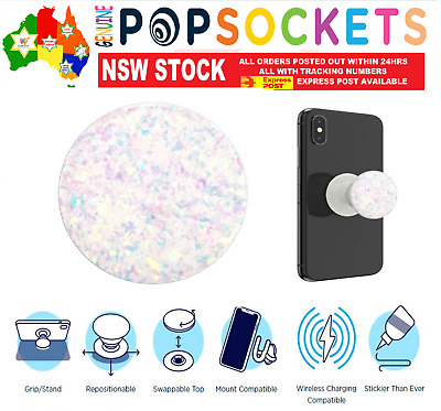 AU24.50 • Buy PopSockets Pop Socket Premium Iridescent Confetti White Phone Stand Holder Grip