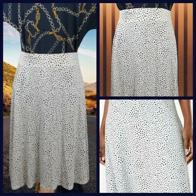 £7.99 • Buy NEW Ex M&S Ladies Ivory Polka Dot A-Line Jersey Skirt Size 6 - 18
