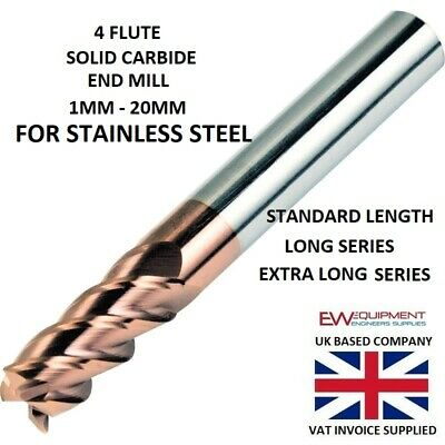 £6.95 • Buy Carbide End Mill 4 Flute FOR STAINLESS STEEL AlTiCrN Coated HRC 60 - 1MM - 20MM