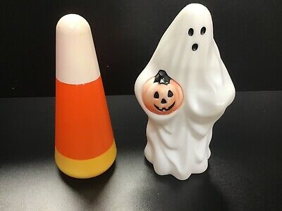 $ CDN31.25 • Buy Vintage Halloween Blow Mold Mini LOT 2 Ghost Holding Pumpkin Candy Corn Empire