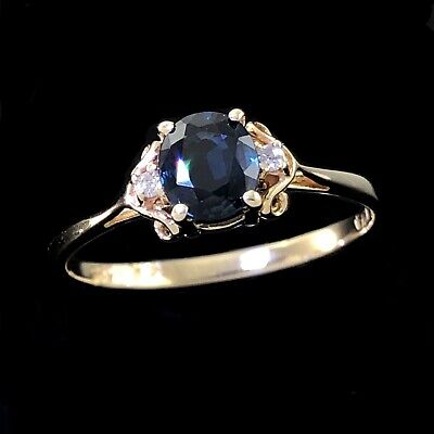 AU220 • Buy CAPTIVATING Solid 14K 585 Yellow Gold Oval Cut Blue Sapphire & Diamond Ring