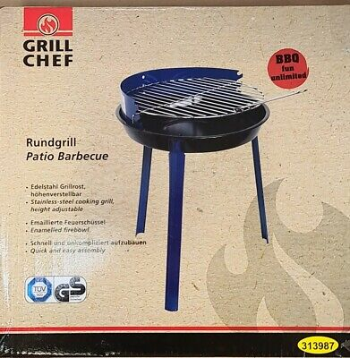 £17.99 • Buy Grill Chef Patio Barbecue BBQ Grill Small Portable Adjustable Height Lidl