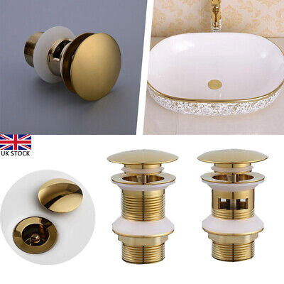 £10.61 • Buy Basin Waste Sink Pop Up Push Button Click Clack Plug Slotted Brass Bathroom