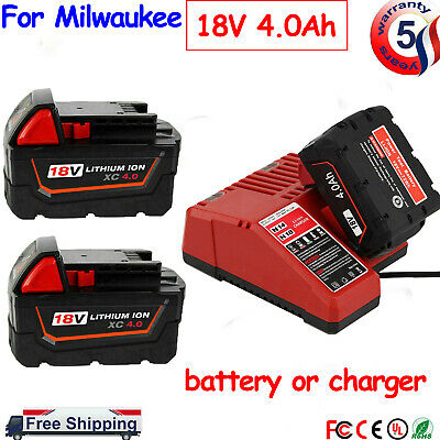 $41.99 • Buy For Milwaukee M18 Lithium XC 4.0AH Extended Capacity Battery 48-11-1860 Charger