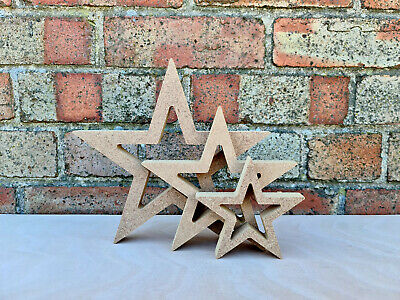 £2.16 • Buy Free Standing Outline Star Craft Blank Shape Wooden MDF 18mm - 5 Height Options