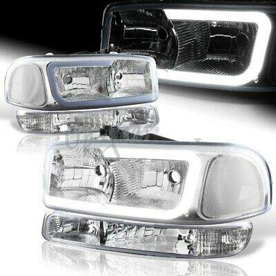 $159.50 • Buy For 99-06 GMC Sierra 1500 2500 DRL LED Chrome Clear 4PCS Headlights+Bumper Lamps
