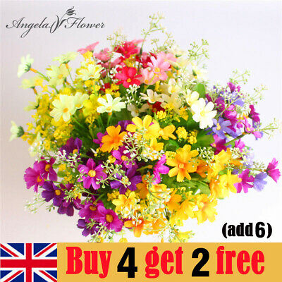 £2.78 • Buy 28 Head Artificial Silk Flowers Daisy Bunch Wedding Home Grave Outdoor Bouquet