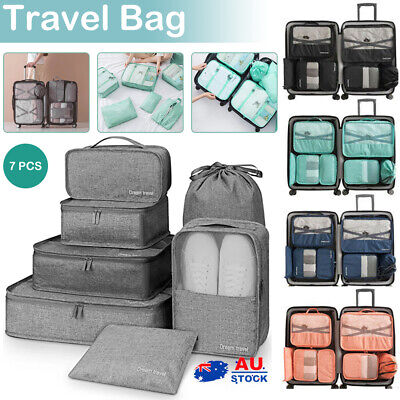AU5.99 • Buy 7pc Packing Cubes Travel Pouches Luggage Organiser Clothes Suitcase Storage Bag