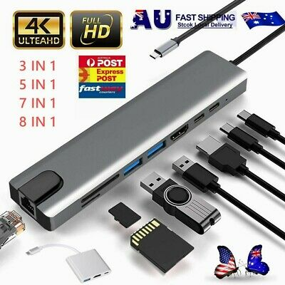 AU39.88 • Buy USB-C HUB Type-C USB 3/5/7/8/ IN 1 3.0 4K HDMI RJ45 Ethernet Micro SD TF OTG