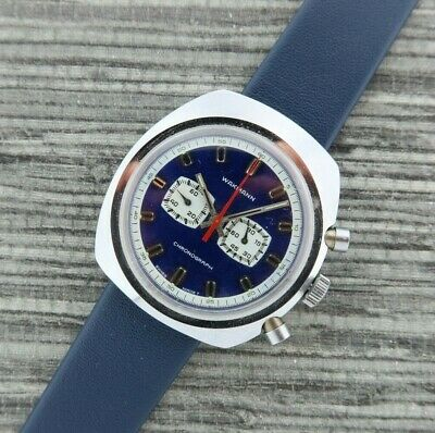 $ CDN544.14 • Buy Vintage Wakmann Chronograph Manual Wind Men's Wristwatch Running + Blue Dial