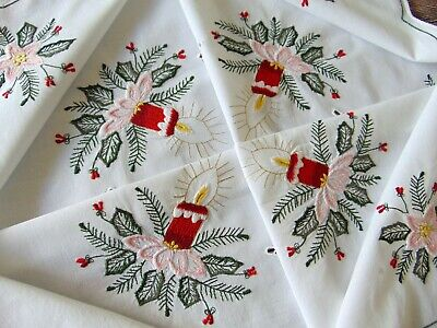 $ CDN34.06 • Buy Vintage Germany Superb Raised Embroidery Pure Cotton CHRISTMAS Tablecloth, Immac