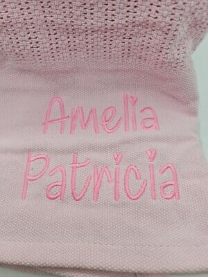 £9.99 • Buy Personalised Large Extra Soft 100% Cotton Cellular Baby Blanket Cot Moses Crib