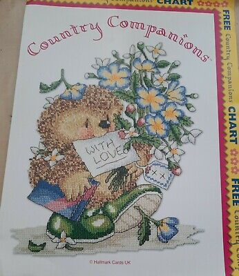 £1.79 • Buy Giant Country Companions Cross Stitch Chart With Love Ed Hedgehog With Flowers