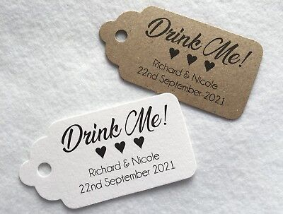 £4.99 • Buy 20 Personalised Wedding 'Drink Me' Tags Favour Gift Cards Party Evening Labels