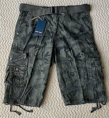 $15.99 • Buy NWT Men's Green Camouflage Camo Cargo Pocket Twill Belted Shorts SIZE 36 38 ONLY