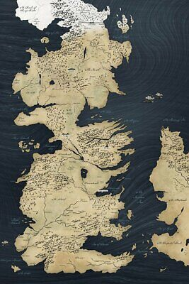 £10.48 • Buy Map Of Westeros Game Of Thrones Poster