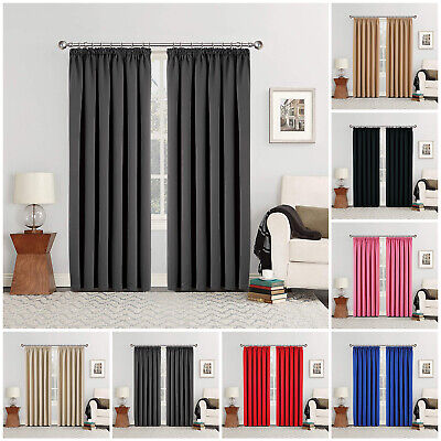 £20.99 • Buy Thick Thermal Blackout Curtains Pencil Pleat Pair OF Ready Made Curtain Panel