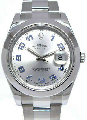 $ CDN10857.70 • Buy Rolex Datejust II Steel Silver Dial Purple Arabic Dial Mens 41 Watch/Box 116300