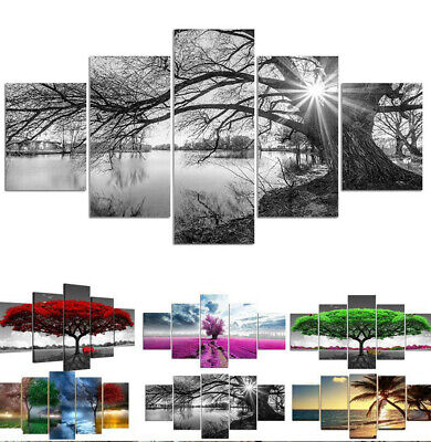 5 Piece/Set Tree Print Canvas Wall Hanging Printing Picture Art Home Decor UK • 17.59£
