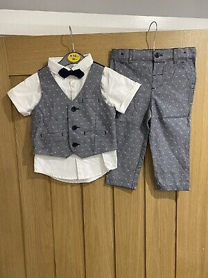 £8.99 • Buy Primark Baby 4 Piece Formal Outfit Waistcoat Shirt Bow Tie & Trousers 9-12Months