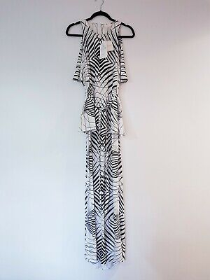 AU30 • Buy SASS & BIDE Black & White Vivid Emotion Stripe Maxi Trapeze Dress Size 14 Flawed