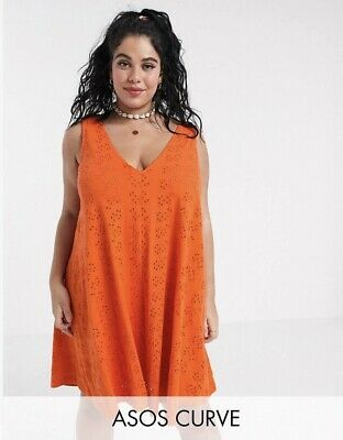 AU45 • Buy NEW ASOS CURVE Colourful Orange Broderie Anglaise Swing Dress Summer Cute 18-20