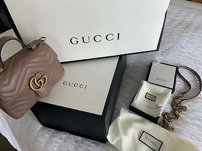 AU2999 • Buy GUCCI GG Marmont Leather Mini Top Handle Bag Dusty Pink 100% AUTHENTIC