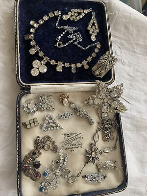 Collection Of Vintage 1950s/60s Paste Crystal Costume Jewellery Spares Repairs • 9.99£