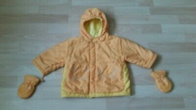 Marese Baby Yellow Fleece Lined Hooded Jacket & Mittens   Age 12 Months  • 2£