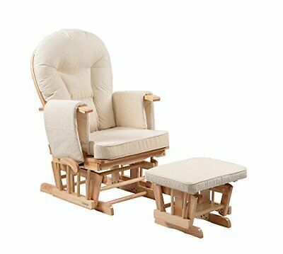 Sereno Nursing Glider Maternity Rocking Chair With Glide Lock And Footstool Natu • 264.70£
