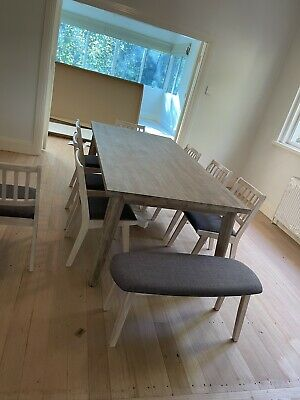 AU1400 • Buy Brand New Focus On 8 Seater Dining Table With Chairs & Bench