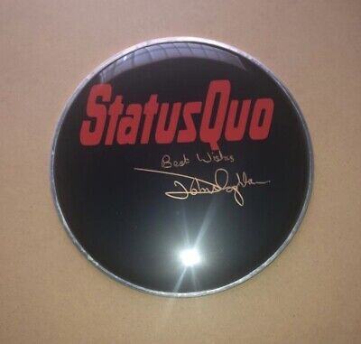 "Signed John Coghlan 10"" Black Drum Head Status Quo Rare Authentic Francis Rossi • 99.99£"