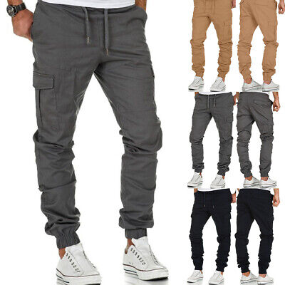 £14.99 • Buy Mens Cargo Trousers Lightweight Drawstring Combat Work Bottoms Pants Trousers