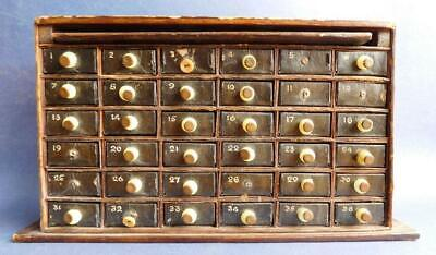 AU66 • Buy Beautiful Antique Miniature Cabinet With Ledger & Filing Drawers 36 Matchboxes