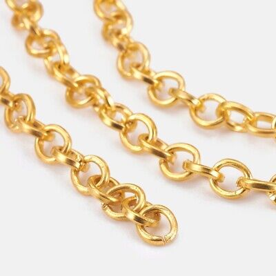 £2.99 • Buy GOLD Plated Rolo Belcher Chain Necklace Making 5mm Links 1mm Thick GOLD