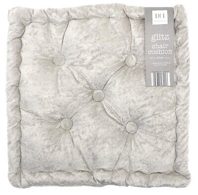 £9.95 • Buy Crushed Velvet Thick Seat Chair Cushion Pad Silver Booster Sofa Garden Home 10cm
