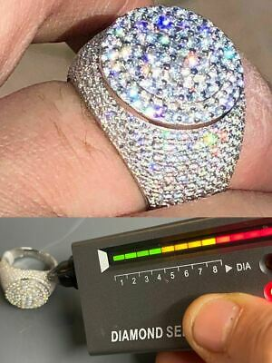 $134.99 • Buy Men's Solid 925 Silver MOISSANITE Pass Diamond Tester Cluster Pinky RING Hip Hop