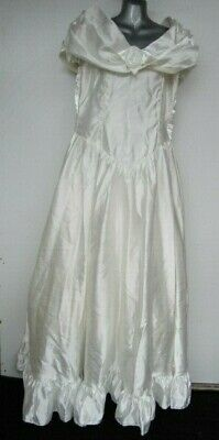 AU180.21 • Buy RARE Vintage Wedding Dress White Puff Off Shoulder Satin Net Lined Ball Gown