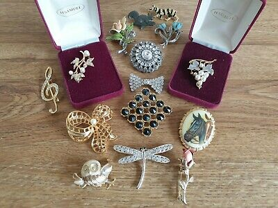 Vintage Costume Jewellery Brooches Very Good Quality Job Lot X 9 • 25£
