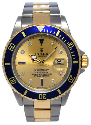 $ CDN17858.11 • Buy Rolex Submariner 18k Yellow Gold/Steel Serti Diamond Dial Mens Watch Y 16613