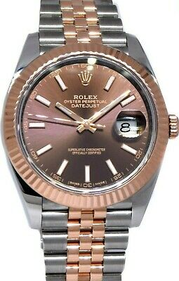 $ CDN16793.37 • Buy Rolex Datejust 41 Chocolate Dial 18k Rose Gold Steel Watch Box/Papers '18 126331