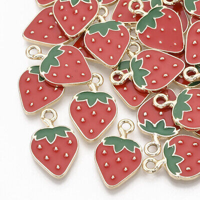 £3.99 • Buy 10 Enamel RED STRAWBERRY Fruit Charms Gold Base Small Pendant 21mm X 13mm