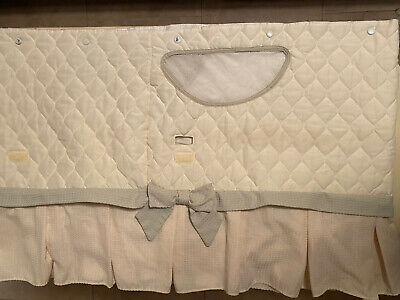 $25 • Buy Bassinet Skirt & Fabric Mesh Basket - Quilted Beige With Green Trim