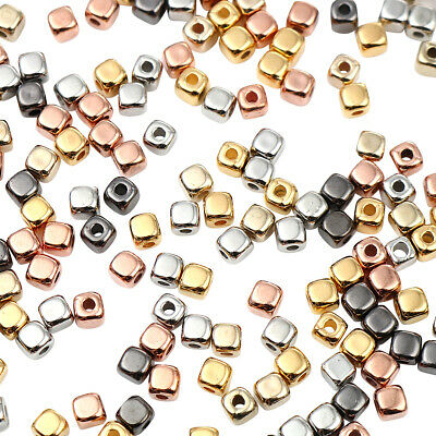 £1.29 • Buy ❤ 100 X Mixed Metallic Plastic SQUARE CUBE Spacer Beads 4mm Jewellery Making ❤