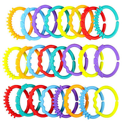 £6.52 • Buy 24pcs Plastic Teething Ring Baby Kids Sensory Teether Toys Pain Relief RY