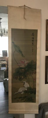 Vintage Oriental Chinese Lotus And Cranes Wall Hanging Scroll • 19.99£