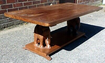 £145 • Buy Early 20th Century Heavy African Tribal Carved Solid Teak Elephant Coffee Table