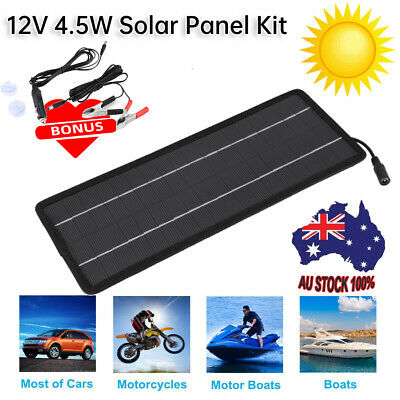 AU24.98 • Buy 12V Solar Car Battery Charger & Maintainer 4.5W Solar Panel Trickle Charging Kit