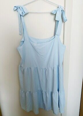 AU40 • Buy NEW ASOS COLLUSION Baby Blue Tiered Smock Dress Tie-Straps Pinafore Tier 16-18